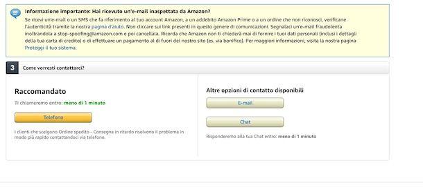 Contattare Amazon via chat