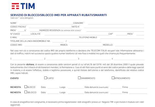 Modulo blocco IMEI TIM