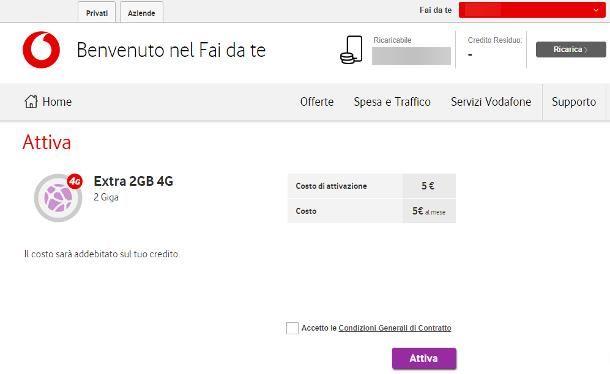 Come aggiungere Giga Vodafone online