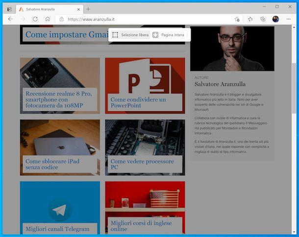 Acquisisci schermata Web di Edge