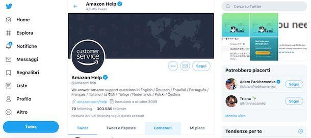 Contattare Amazon tramite Twitter