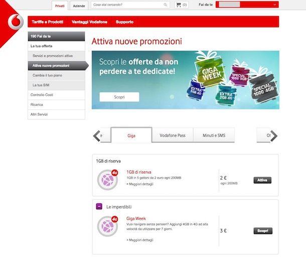 Come aggiungere Giga Vodafone