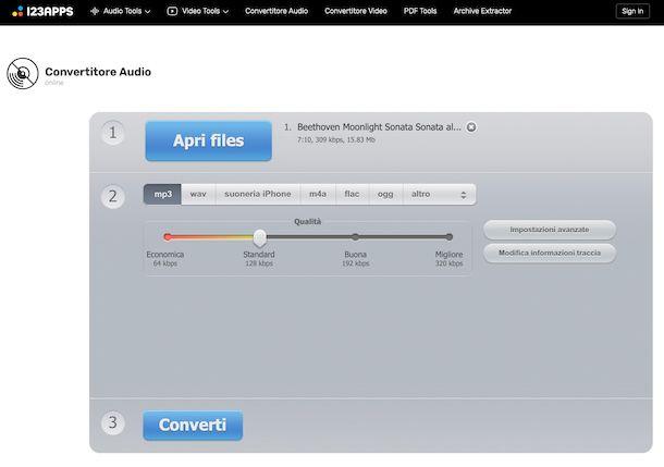 Convertitore Audio di 123Apps