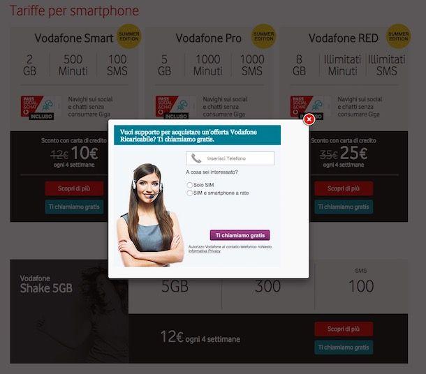 Come farsi chiamare da Vodafone