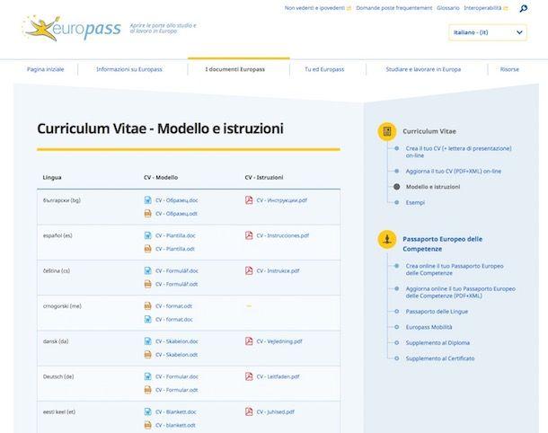 curriculum vitae europass modello