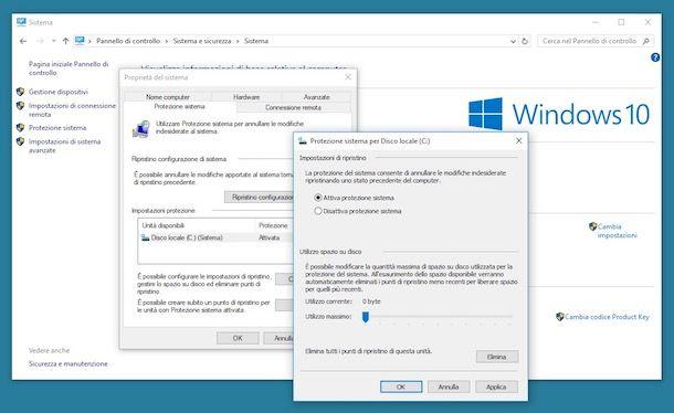 Come creare punto di ripristino Windows 10