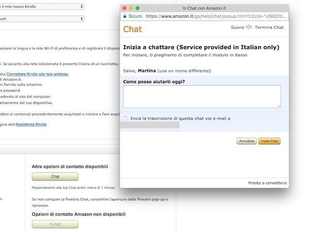 Come contattare Amazon in chat