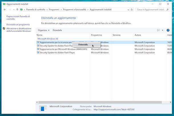 Come annullare aggiornamenti Windows 10