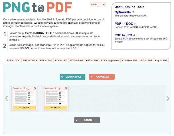 Come convertire PNG in PDF