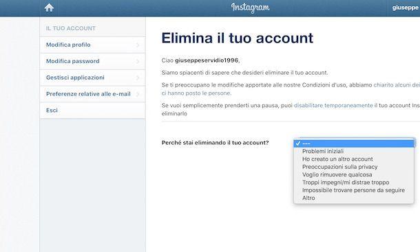 Come cancellare un account