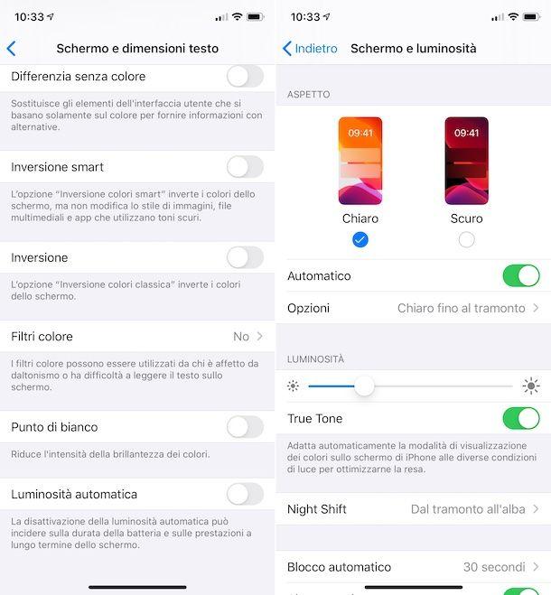 Luminosità schermo iOS