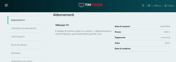 Disattivare l'abbonamento a TIMvision