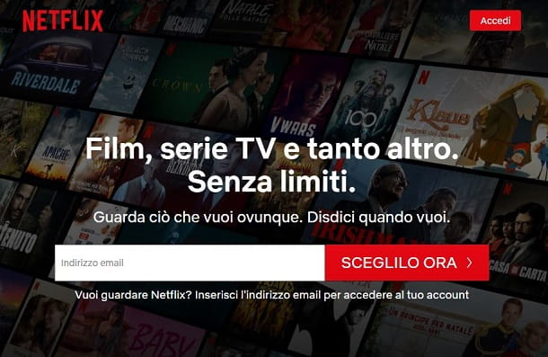 Registrazione account Netflix