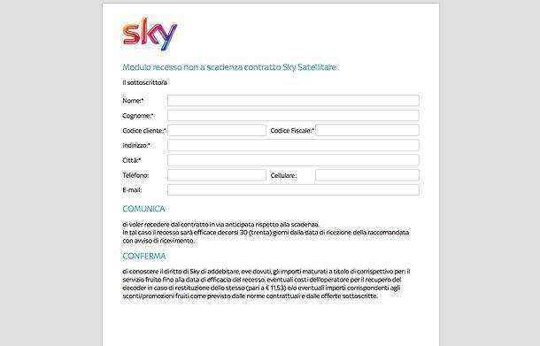 Disdetta Sky con PEC