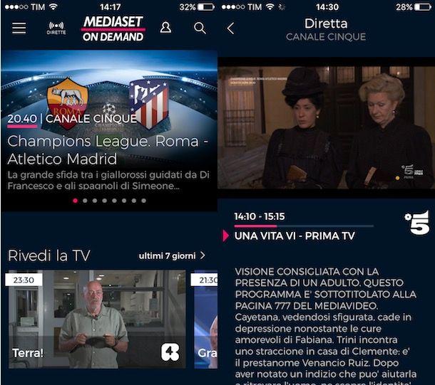 mediaset on demand app