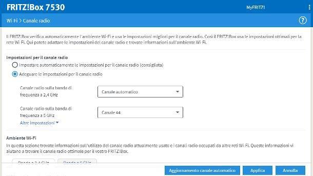 Impostare miglior canale WiFi: FRITZ!Box
