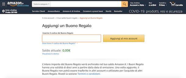 Come aggiungere un buono su Amazon