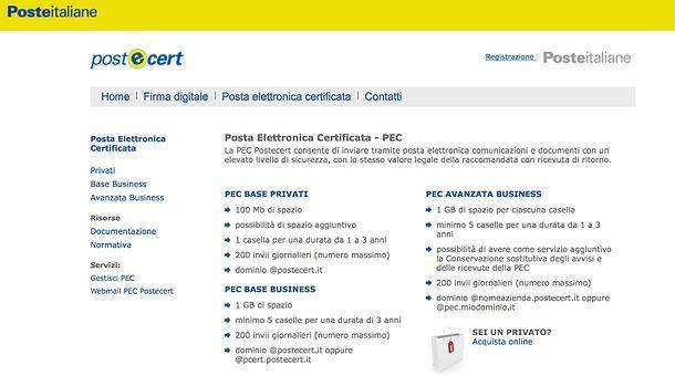 Fare la posta elettronica certificata Poste Italiane
