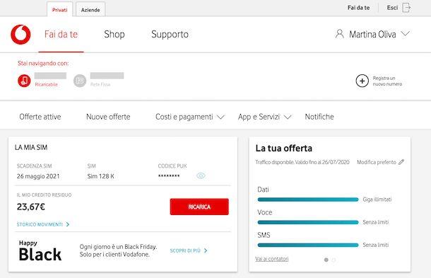 Area clienti Vodafone codice PUK