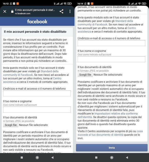 Recuperare account Facebook bloccato
