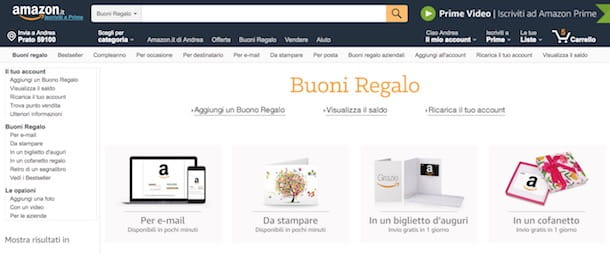 c4a3bc2026 Il metodo più veloce per ottenere un buono Amazon è acquistarlo tramite la  sezione Buoni regalo presente sul noto sito di shopping online.