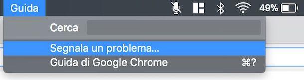 Segnalare problemi a Google