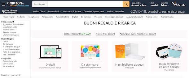 Acquistare buoni Amazon