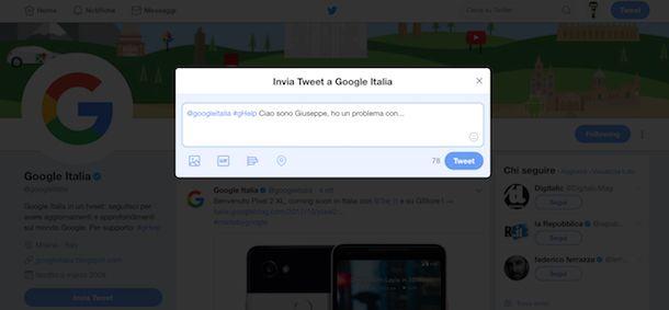 Supporto Google su Twitter