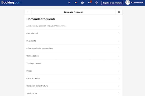 Domande frequenti Booking