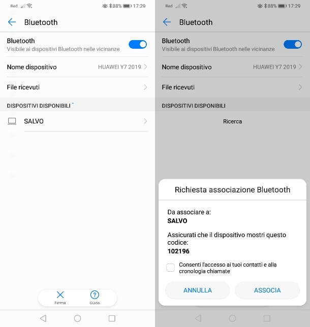 Collegamento Bluetooth Huawei