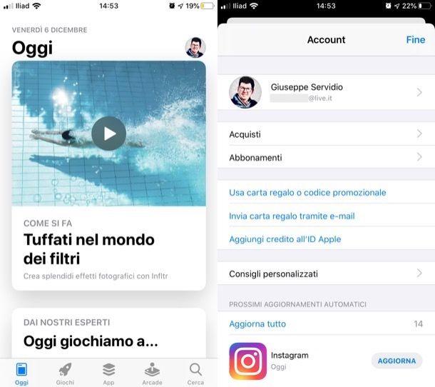 Aggiornare l'app di Instagram