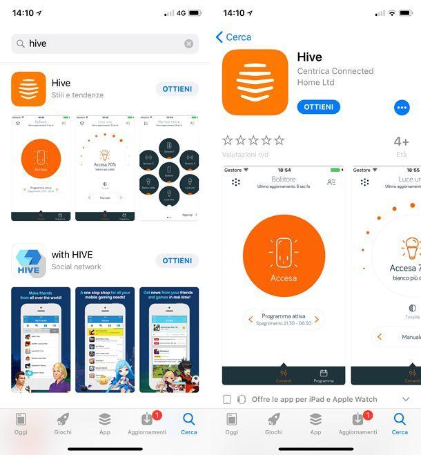 Installazione app HIVE iOS