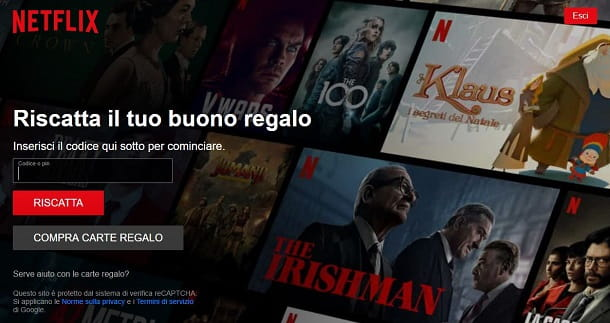 Pagare Netflix con codice