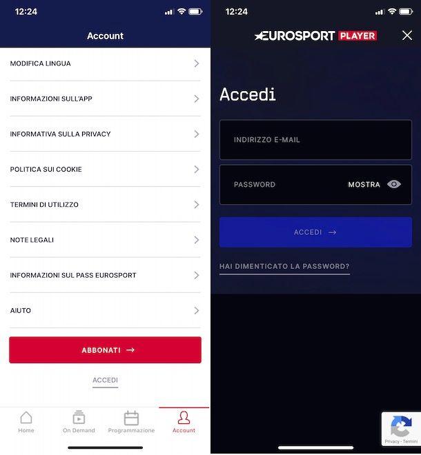 Accedere a Eurosport Player