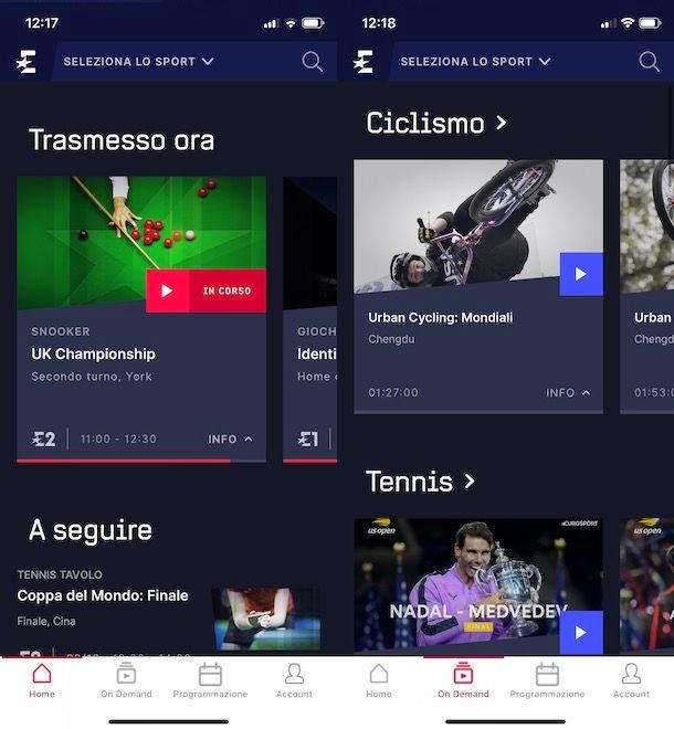 Come usare Eurosport Player da smartphone e tablet