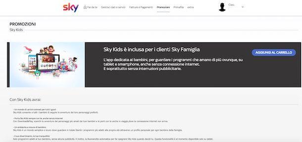 Attivazione Sky Kids da computer