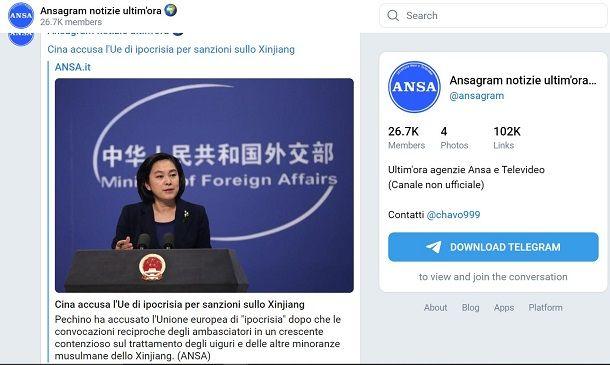 Canali telegram news