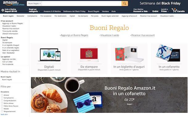 Buono regalo Amazon: come funziona