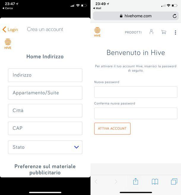 Attivazione account HIVE