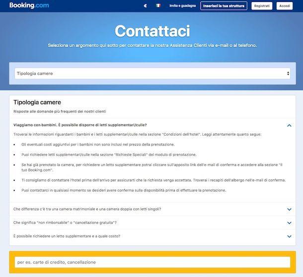 Come contattare Booking