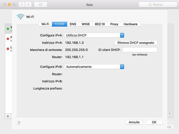 Impostazioni di rete macOS