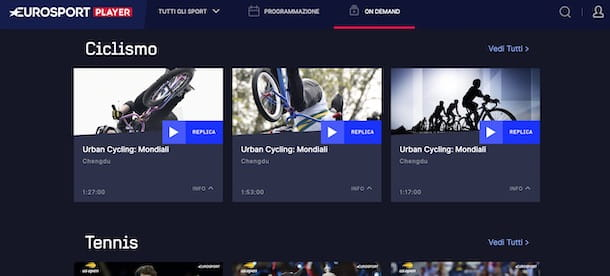 Contenuti on demand su Eurosport Player