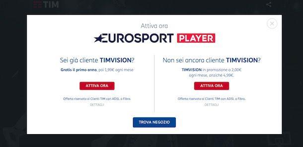 Attivazione Eurosport Player con TIMvision