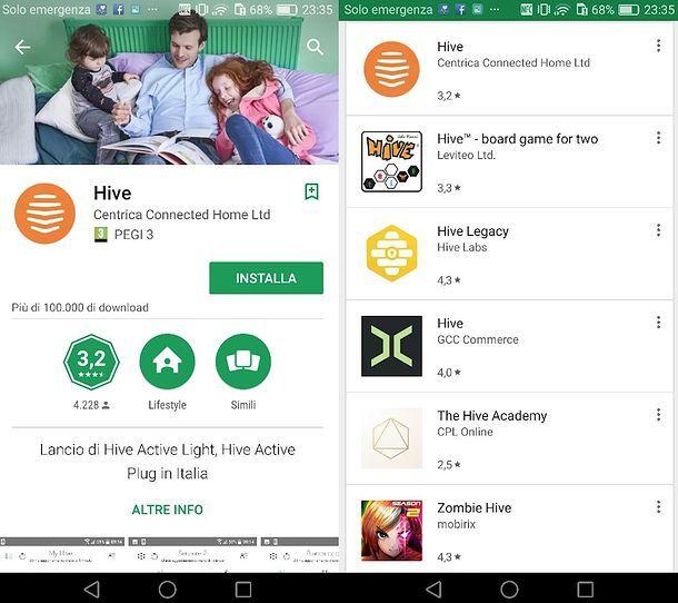 Installazione app HIVE Android