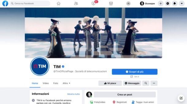 Pagina Facebook di TIM
