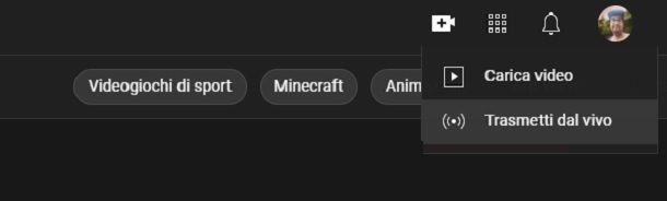 Come abilitare la funzione Live su YouTube
