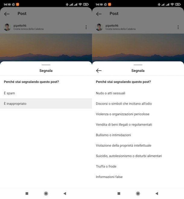 Segnalare su Instagram contenuti inappropriati