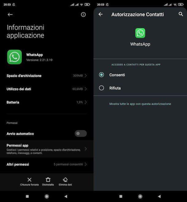 Concedere permessi necessari a WhatsApp