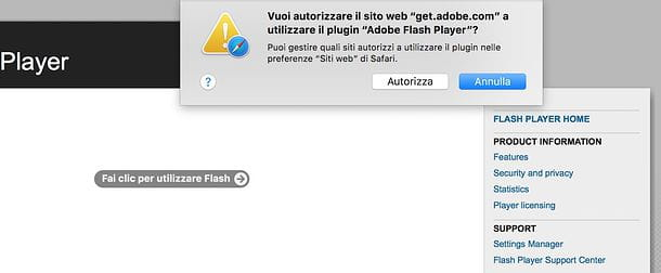 Come attivare Adobe Flash Player in Safari