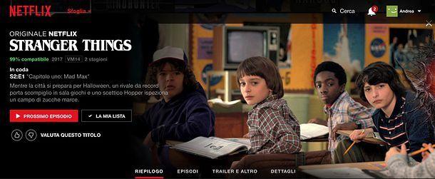 Riepilogo contenuti Netflix